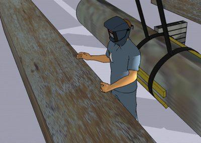 Levyseppä puristui teräskappaleen alle
