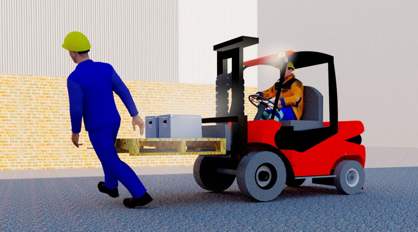 Trukki törmäämässä piikit edellä jalan kulkevaan työntekijään. Trukin piikeissä kuormalava ja kaksi laatikkoa