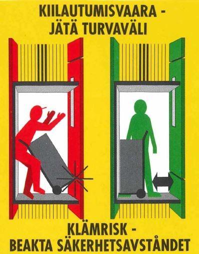 Kiilautumisvaara -jätä turvaväli. Kuvassa vasemmalla kiilautumistilanne ja oikealla turvallisesti toimittuna