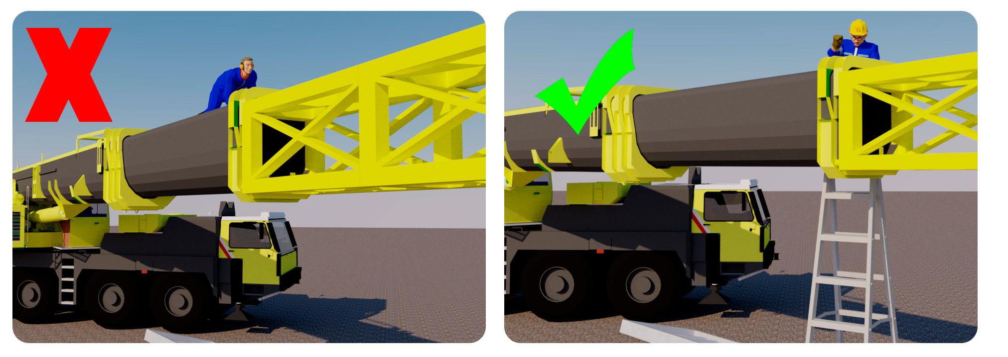Vasemman puoleisessa kuvassa havainnollistettu kuljettajan sijaintia ennen putoamista. Oikealla havainnollistettu turvallista valmistajan ohjeiden mukaista työmenetelmää, jossa kuljettaja on a-tikkaiden päällä kiinnittämässä puomin jatketta.