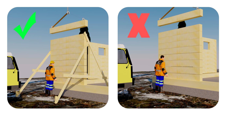Vasemmassa kuvassa havainnollistettu turvallista työmenetelmää, jossa hirsirakenne on tuettuna seinän molemmista päistä. Oikean puoleisessa on havainnollistettu vaarallista tilanteessa käytettyä työmenetelmää, jossa hirsirakennetta ei ollut tuettu.