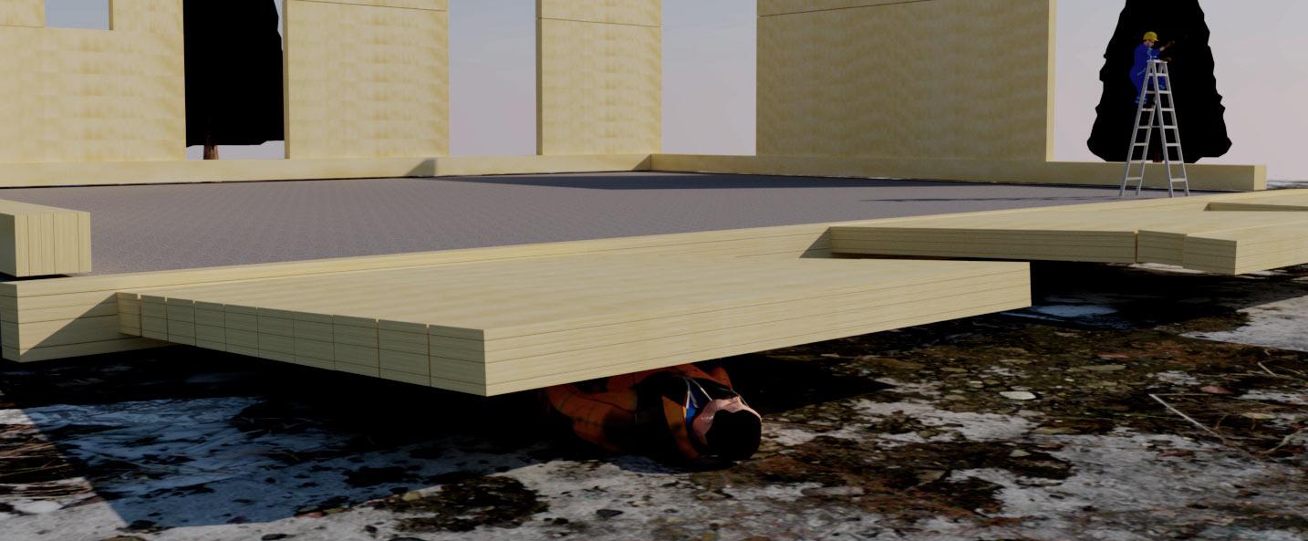 Rakennusmies kaatuneen lamellihirsiseinän alla.
