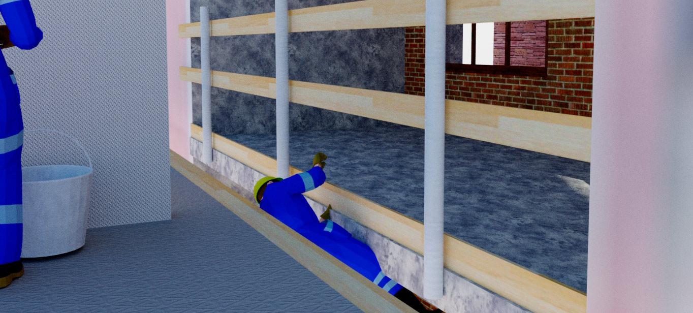 Rakennusmies putoamassa mastolavan ja parvekkeen välistä.