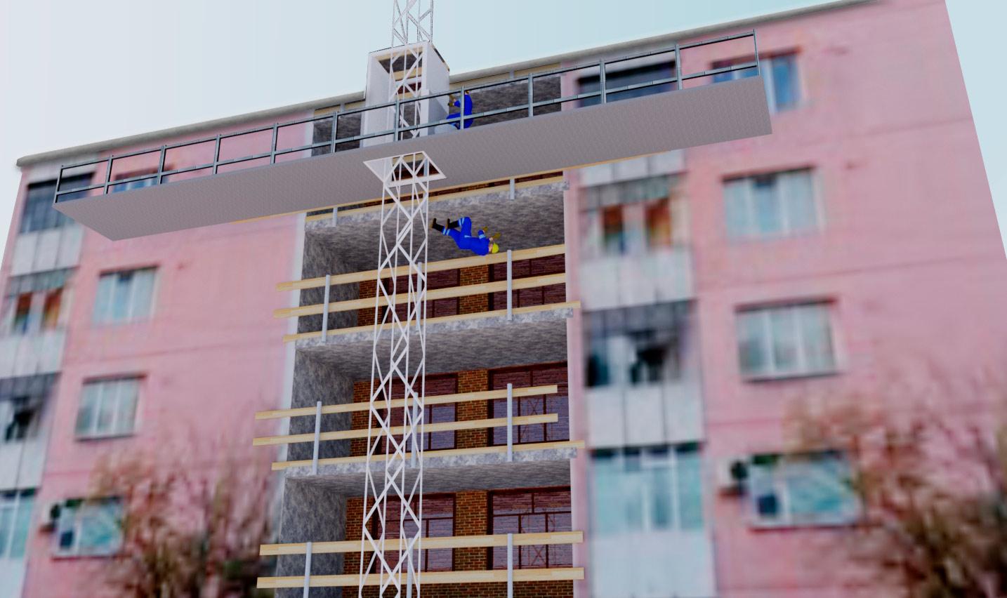Rakennusmies putoamassa mastolavalta maahan