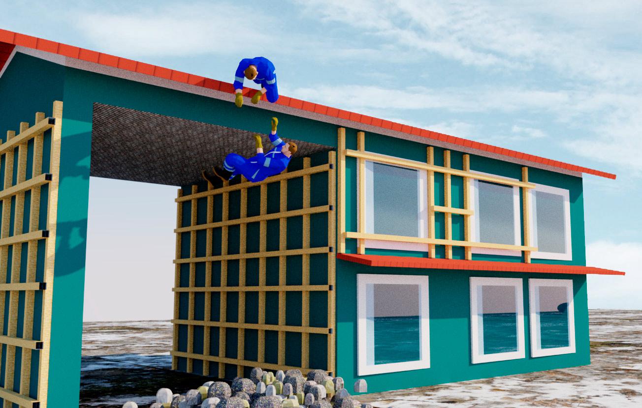 Kaksi rakennusmiestä putoamassa omakotitalon katolta maahan
