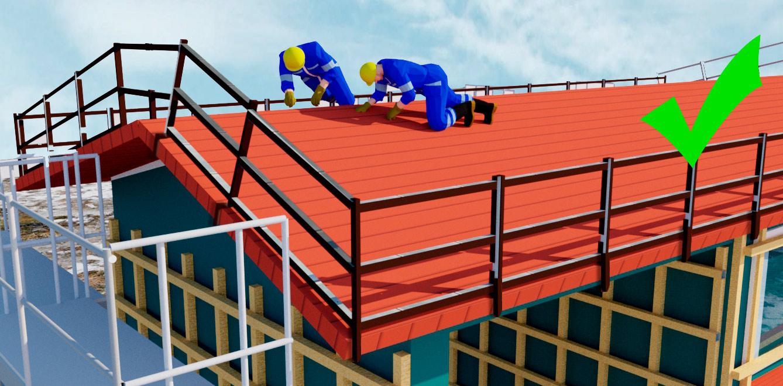 Kaksi rakennusmiestä katolla. Katon ympärille asennettu kaiteista rakenteellinen putoamissuojaus